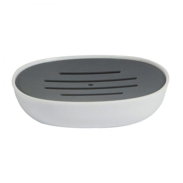 "White & Grey Plastic ""Kuba"" Soap Dish"