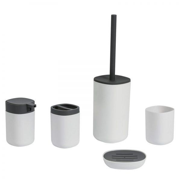 "White & Grey Plastic ""Kuba"" 6 Piece Bathroom Accessory Set"