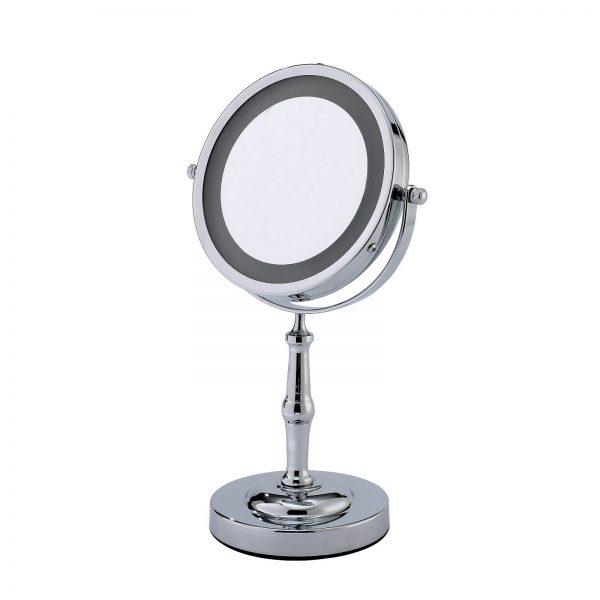 "3 x Magnification Round Chrome ""Lamda"" Illuminated Vanity Mirror"