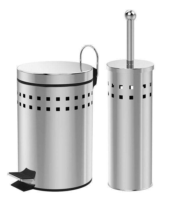 """Stainless Steel """"Luga"""" 3-Litre Pedal Bin & Toilet Brush Holder Set"""
