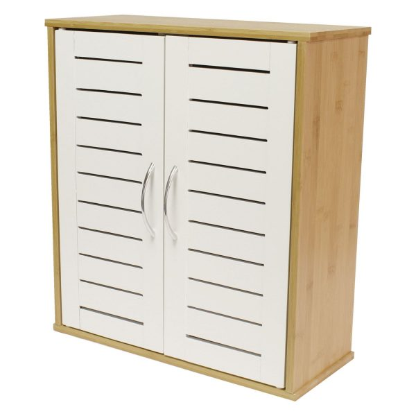"Wall Mounted Bamboo & White ""Sapporo"" Double Door Bathroom Cabinet"