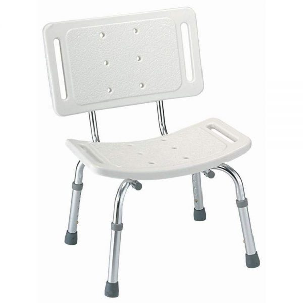 White Safety Shower Chair with Adjustable Legs for Elderly / Disabled