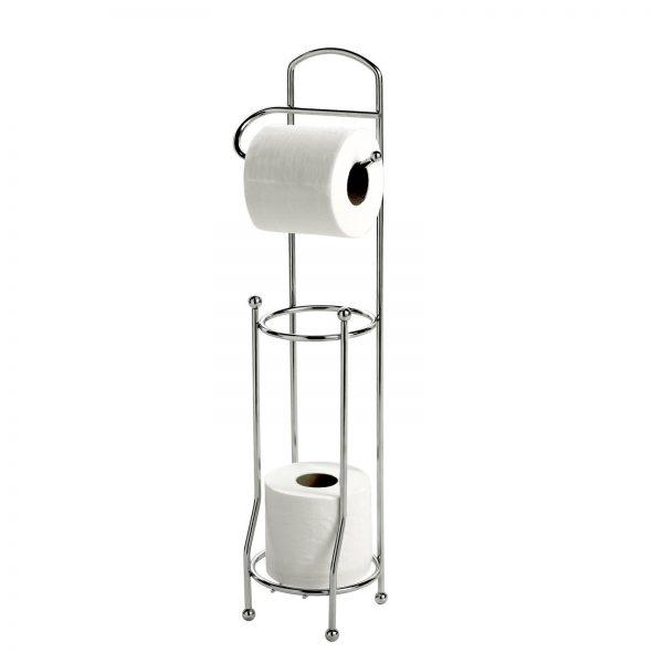 Basic Chrome Wire Toilet Roll Holder & Spare Toilet Roll Holder