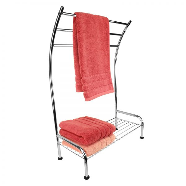 "Free Standing ""Tilston"" Chrome Towel Stand / Rack with Shelf"