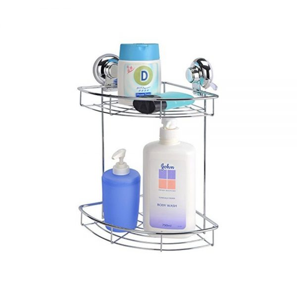 "Super Suction ""Vertex"" Chrome Effect 2-Tier Bathroom Corner Basket / Caddy"