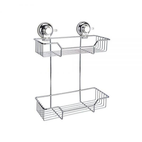 "Super Suction ""Vertex"" Chrome Effect 2-Tier Rectangular Bathroom Basket / Caddy"