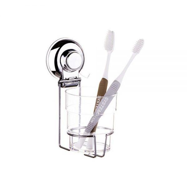 "Super Suction ""Vertex"" Chrome Effect Toothbrush Holder"