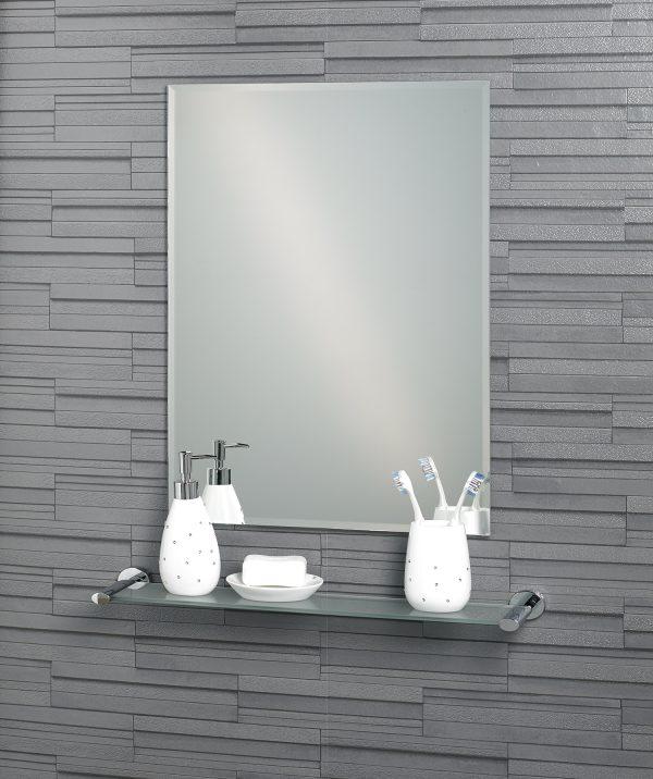 """Frameless Rectangular Bevelled Edge Small  """"Fairmont"""" Bathroom Mirror"""