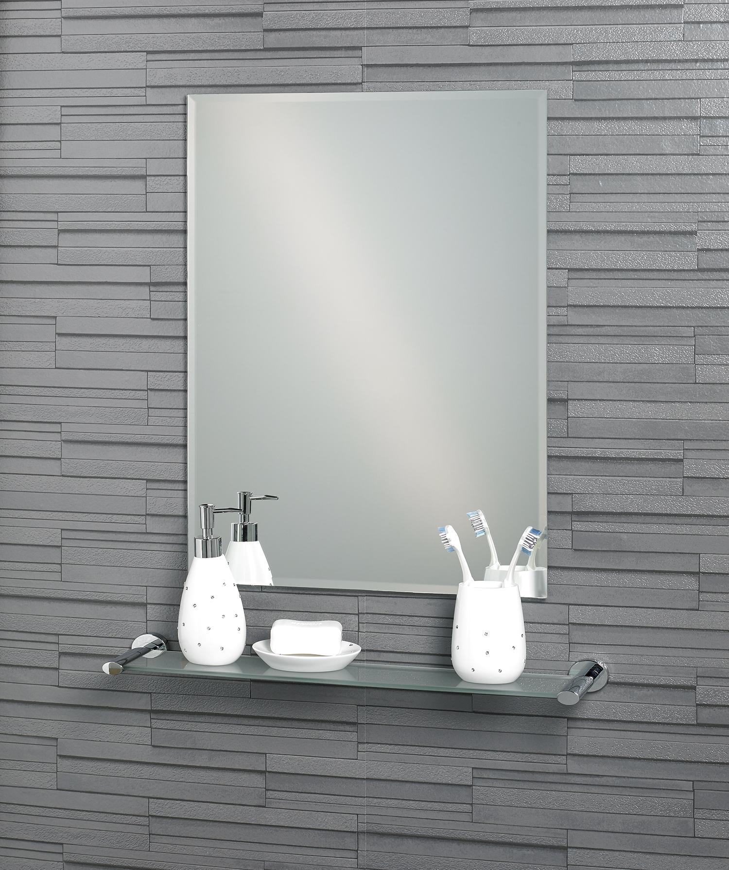 Buy Frameless Rectangular Bevelled Edge Small Fairmont Bathroom Mirror 1 Back2bath