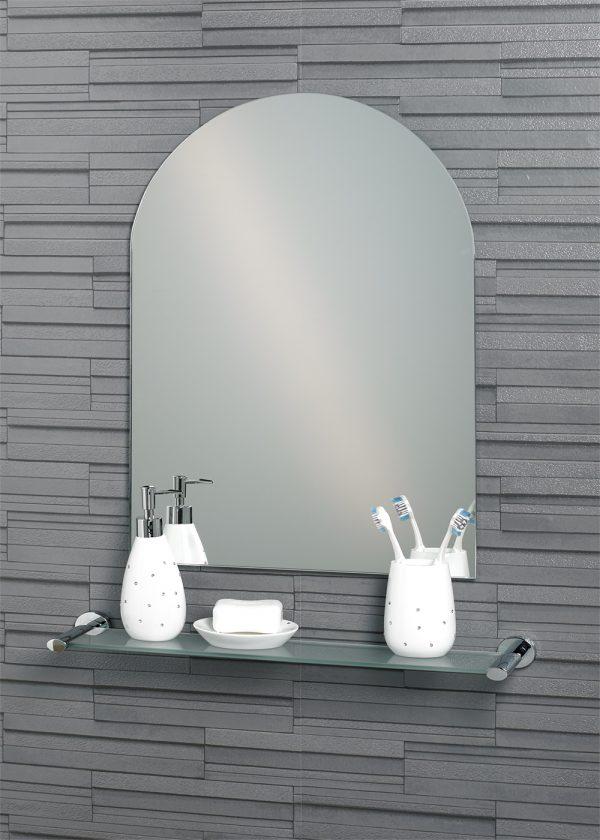 "Frameless Wall Mounted Arch ""Hampton"" Small Bathroom Mirror"
