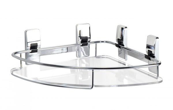 Super Stix Ikon Self Adhesive Chrome Effect Bathroom Corner Basket
