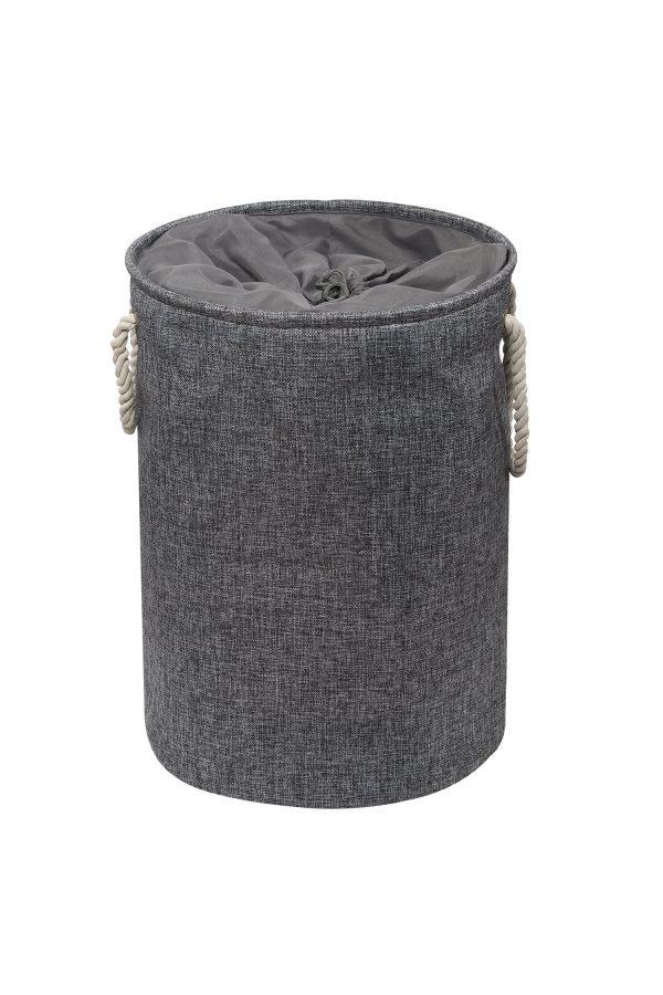 Presto Laundry Basket Grey Tweed Effect With Drawstring