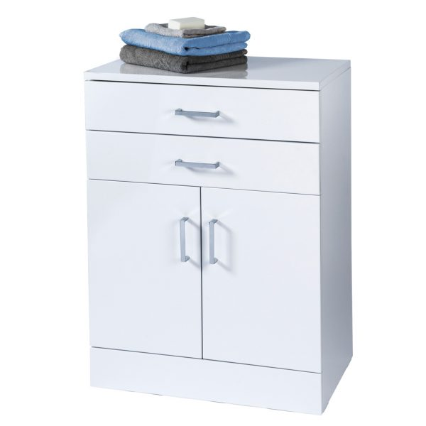 "High Gloss White ""Trento"" Bathroom Cabinet with Soft Close Double Doors"