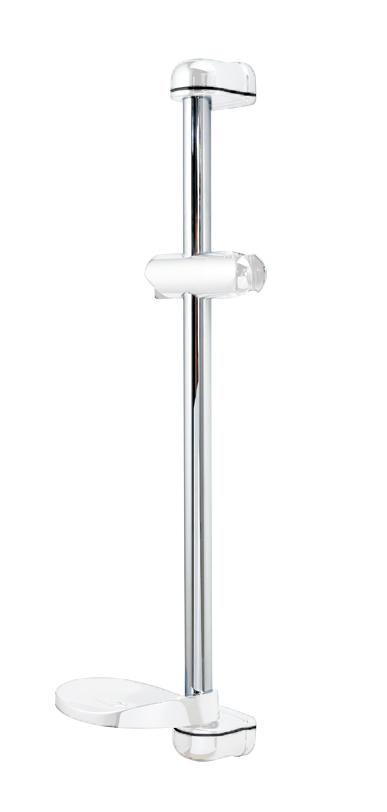 """White / Chrome """"Tri-Jet"""" 65cm Shower Riser Rail"""
