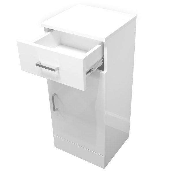 "High Gloss White ""Arezzo"" Bathroom Cabinet w/ Soft Close Single Door"