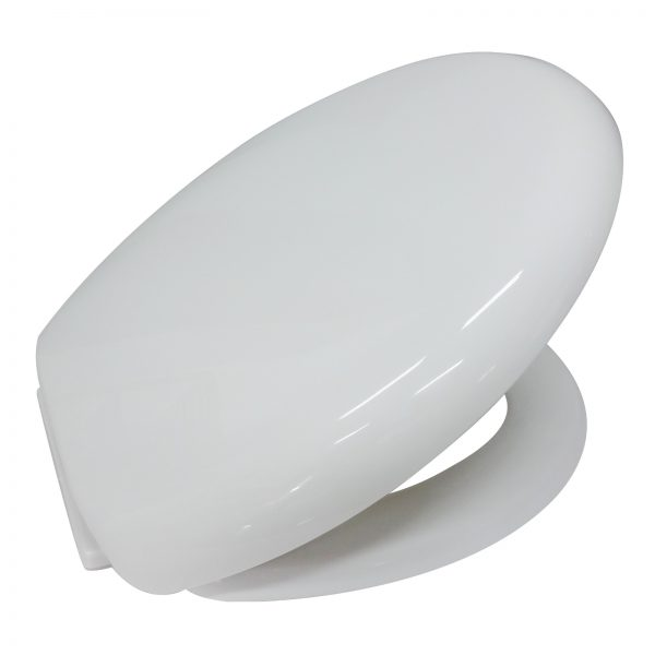 """Soft Close White Plastic """"Seville"""" Toilet Seat with Wrap Over Seat Cover"""