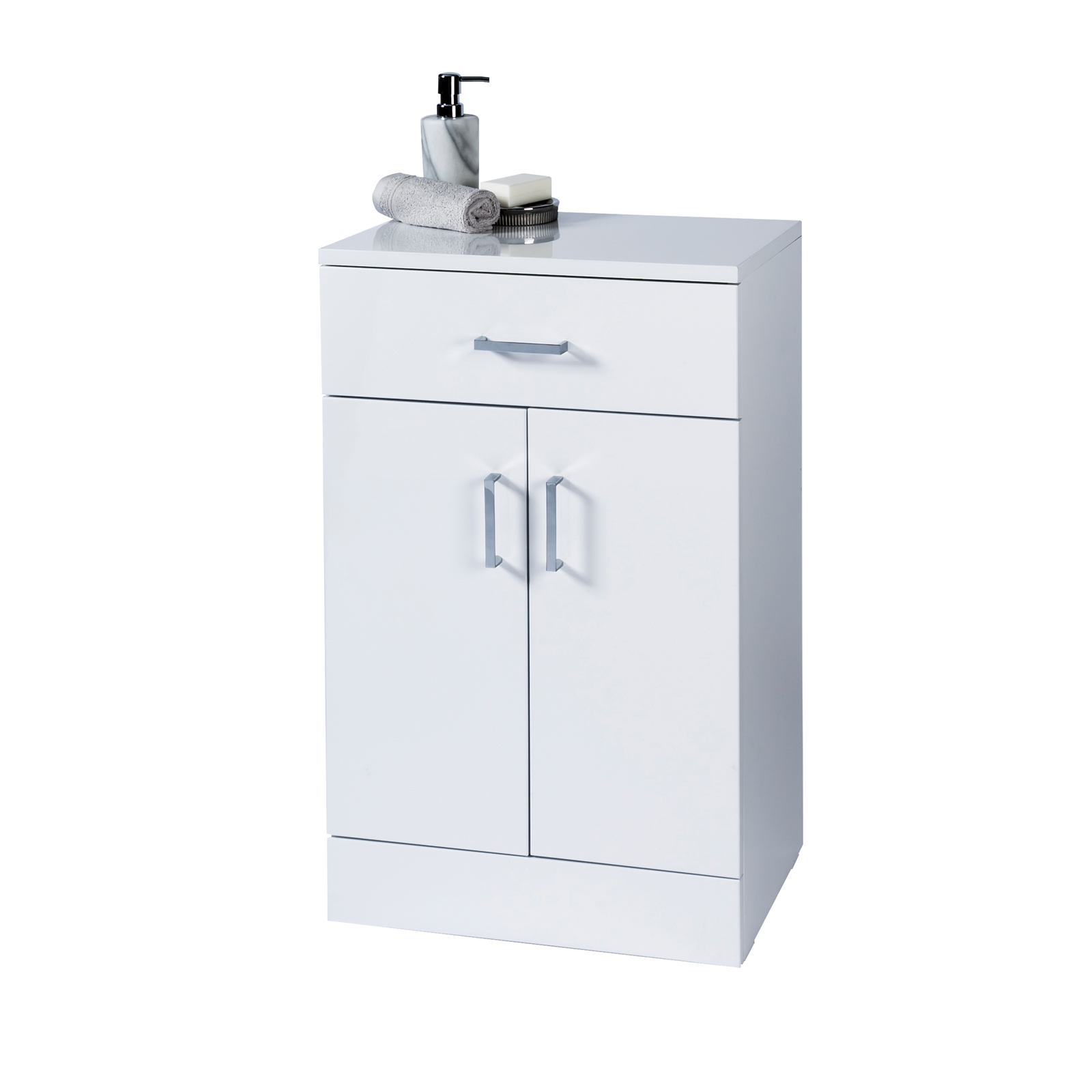 High Gloss White Salerno Bathroom Cabinet W Soft Close Double Doors