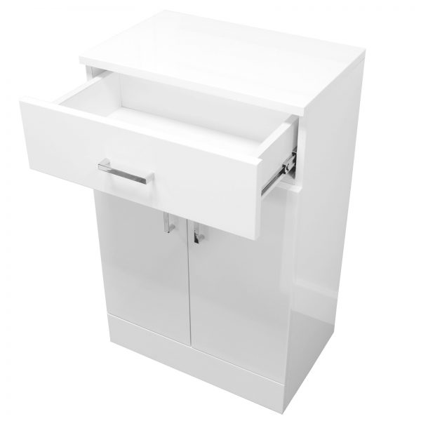 """High Gloss White """"Salerno"""" Bathroom Cabinet w/ Soft Close Double Doors"""