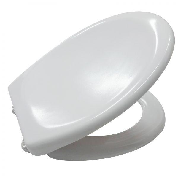 """Soft Close White Plastic """"Solo"""" Toilet Seat, Single Button Quick Release Seat"""