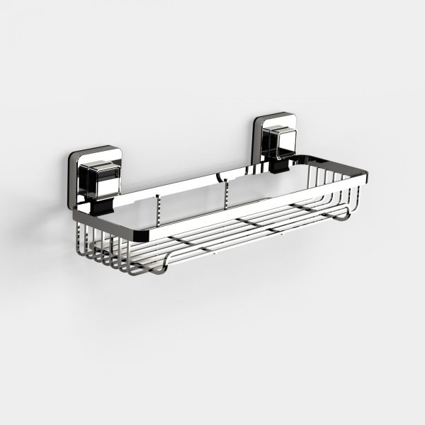 Pushloc Wall Mounted Double Edge Suction Rectangular Basket