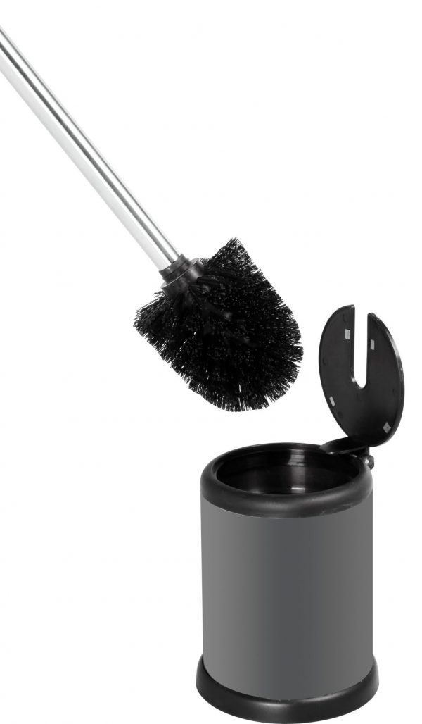 Aero Stainless Steel Toilet Brush & Holder, Grey Finish