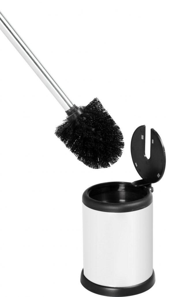 Aero Stainless Steel Toilet Brush & Holder, White Finish
