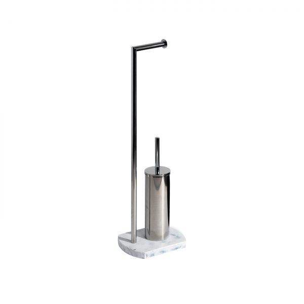 Octavia Freestanding Toilet Roll Holder & Brush – White