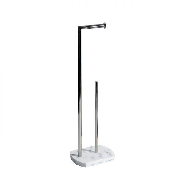Octavia Freestanding Toilet Roll Holder & Spare – White