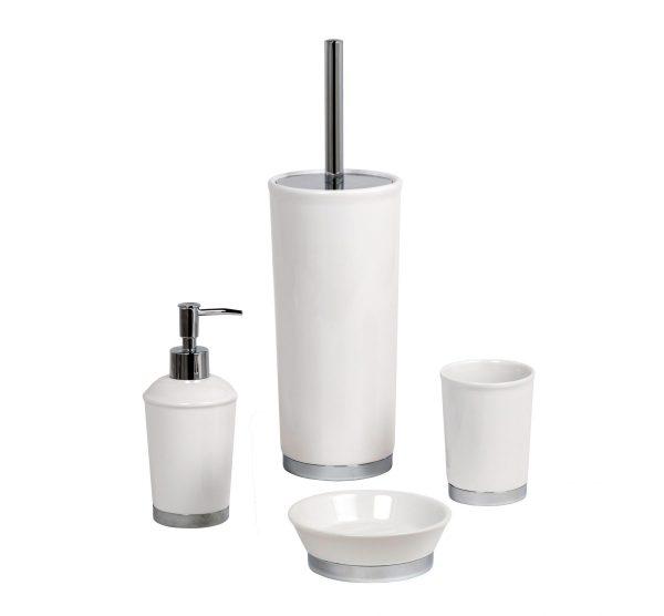 "White Ceramic ""Chatsworth"" 4pc Bathroom Set"
