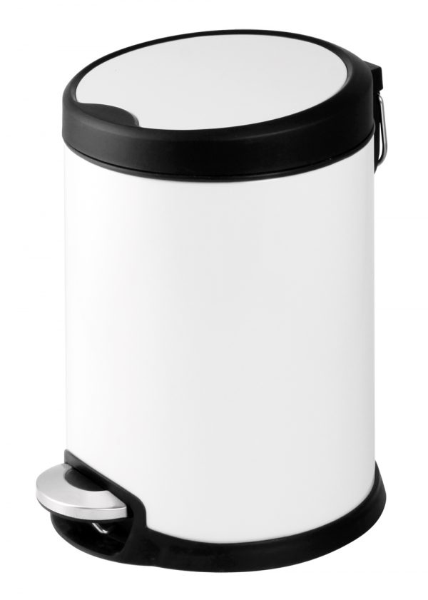 Aero White Stainless Steel 3 Litre Bathroom Soft Close Bin