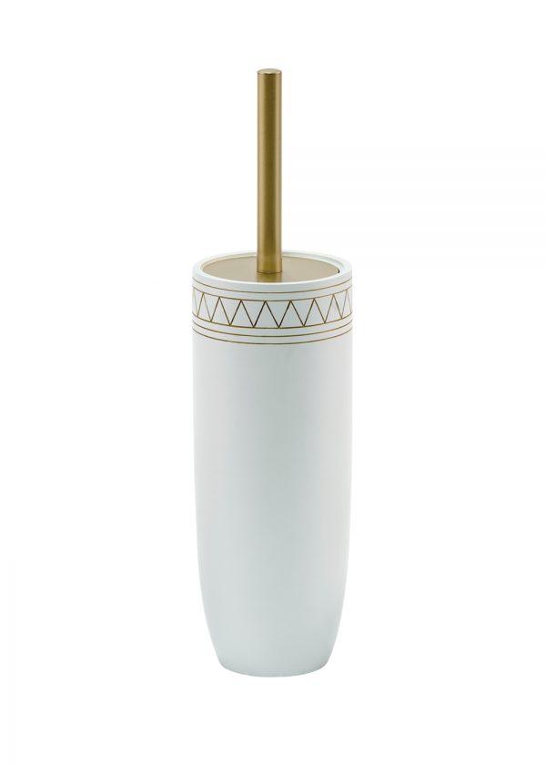 Aztec Toilet Brush & Holder White/Satin Gold