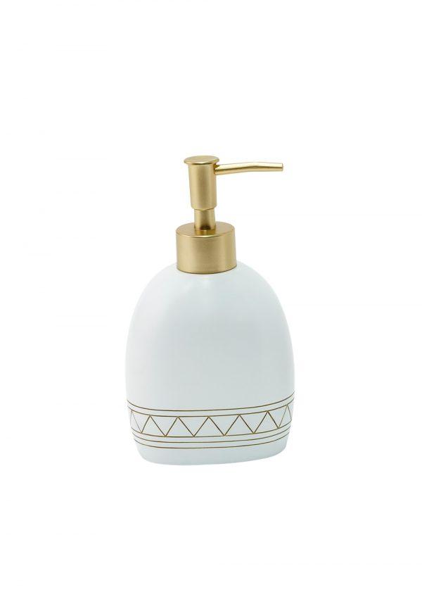 Aztec Liquid Soap Dispenser White/Satin Gold