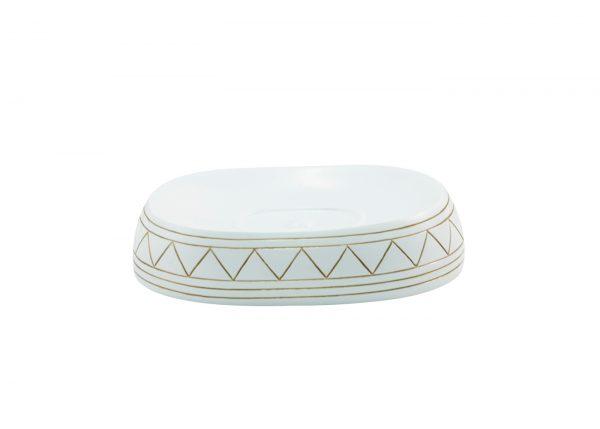 Aztec Soap Dish White/Satin Gold