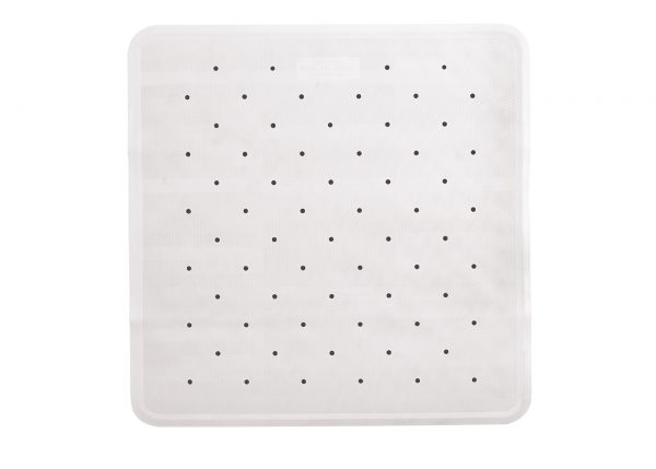 Large White Rubber Non Slip Shower Mat (53cm x 53cm) Classic