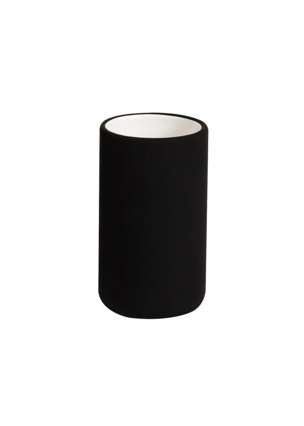 Fumo Bathroom Black Tumbler Rubberised Ceramic