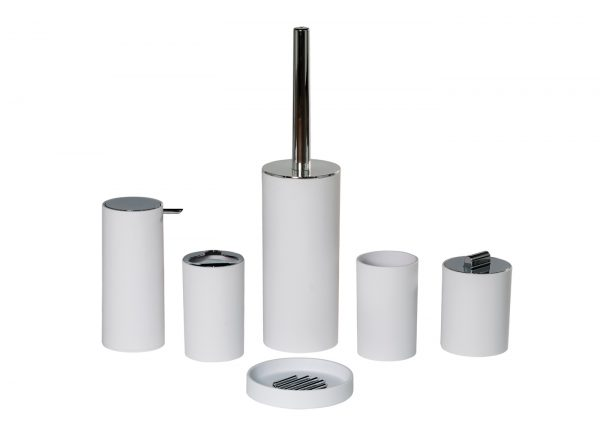 Nordic 6 Piece Accessory Set (Soap Dish, Tumbler, Toothbrush Holder, Liquid Dispenser, Toilet and Cotton Wool Container)