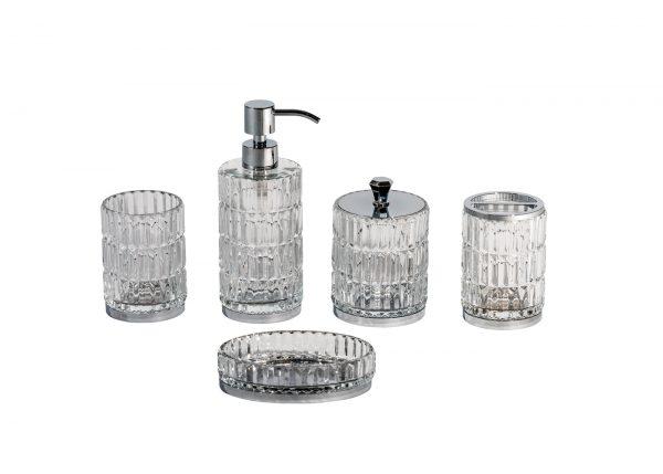 Elegance 5 Piece Set (Soap dish, tumbler, toothbrush holder, liquid soap dispenser and storage jar)