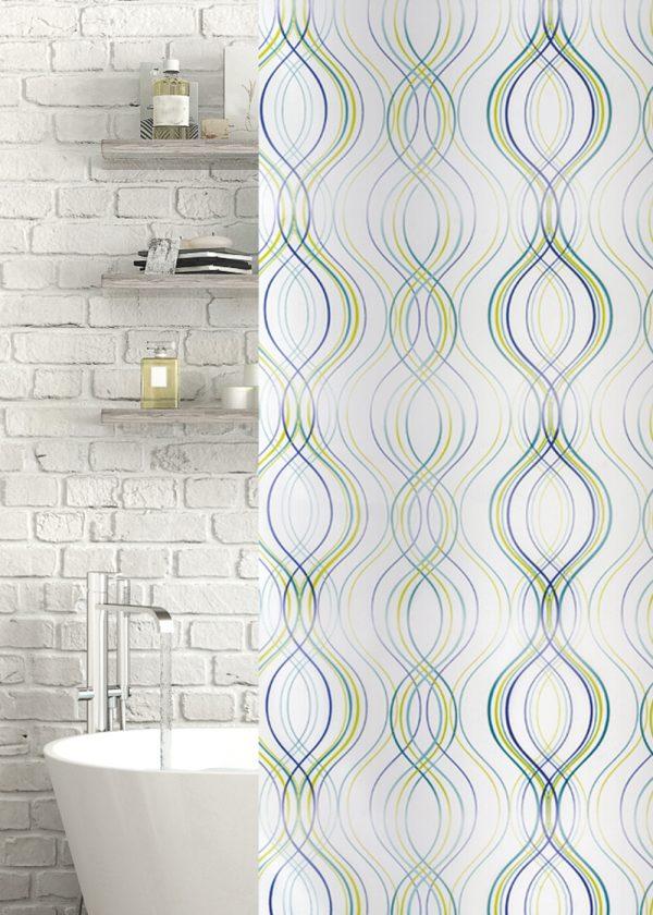 Fiesta Stripe Polyester Shower Curtain Green