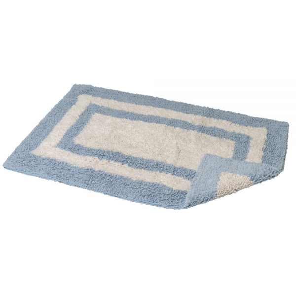 Eaton Cotton 80x50cm Reversible Bath Mat (Blue/White)