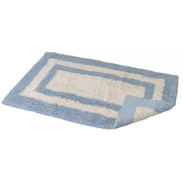 Eaton Cotton 80x50cm Reversible Bath Mat (Blue/White)