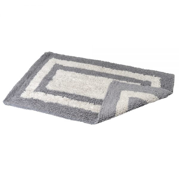 Eaton Cotton 80x50cm Reversible Bath Mat (Grey/White)
