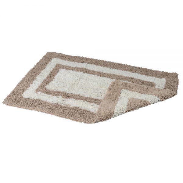 Eaton Cotton 80x50cm Reversible Bath Mat (Mocha/Cream)