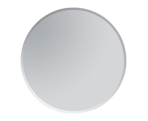Round Bathroom Mirror Wall Mounted Bevelled Edge Frameless Modern 60cm Diameter