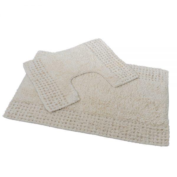 San Marino 2 Piece Cotton 80x50cm Bath Pedestal Mat Set (Cream)