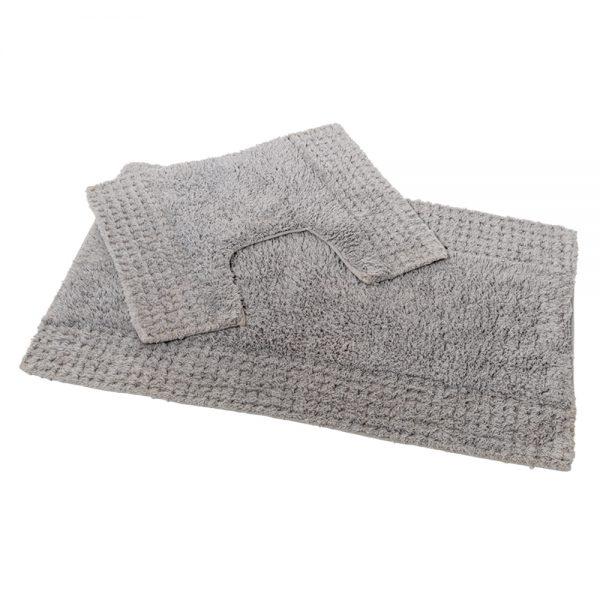 San Marino 2 Piece Cotton 80x50cm Bath Pedestal Mat Set (Grey)