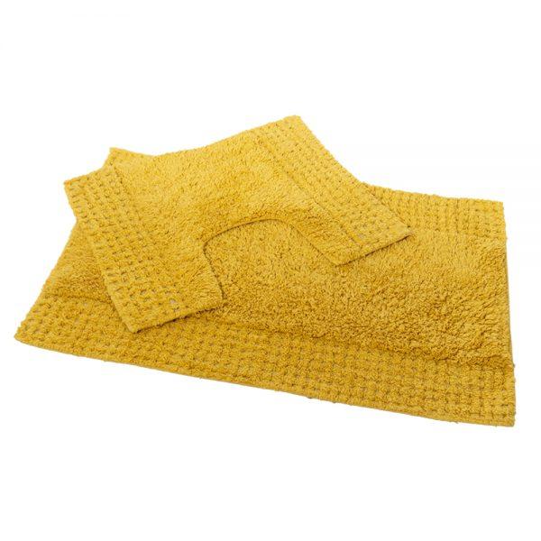 San Marino 2 Piece Cotton 80x50cm Bath Pedestal Mat Set (Mustard)