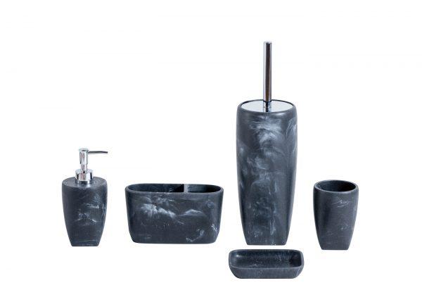 Octavia Grey Marble Effect Resin Bathroom 5 Piece Accessory Set