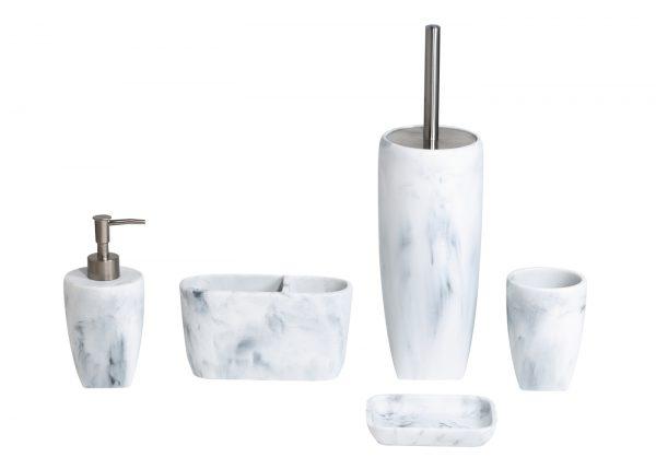 Octavia White Marble Effect Resin Bathroom 5 Piece Accessory Set