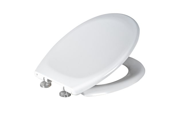 Soft Close White Plastic Toilet Seat with Two Button Quick Release Seat, Duo