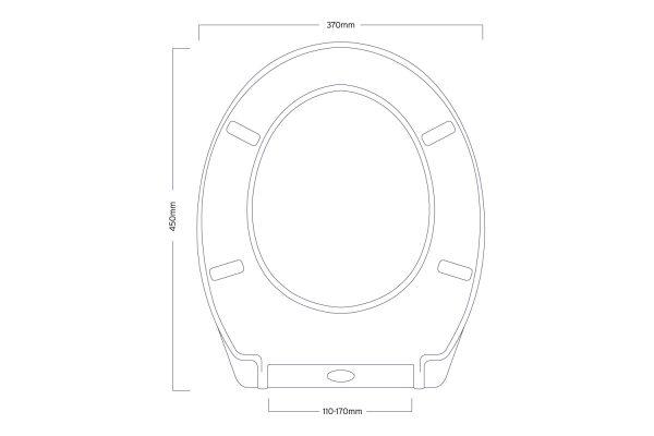 """Soft Close White Plastic """"Granada"""" Toilet Seat with Single Button Quick Release"""